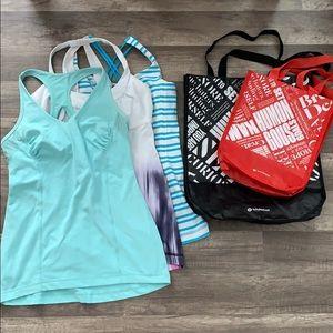 Lululemon Shopping Bags and Tanks
